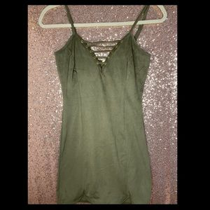 GUESS Olive green suede dress worn ONCE